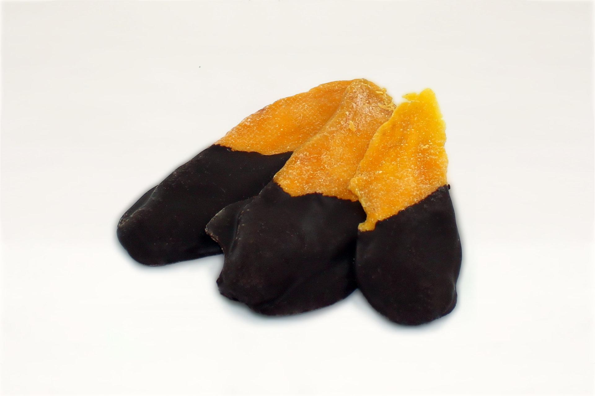 Mango, getrocknet, halbschokoliert mit dunkler Schokolade, Serviervorschlag
